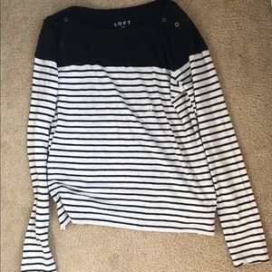NWT LOFT Striped Navy Blue Sweater with Buttons